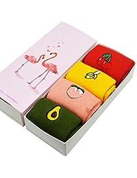 LILIKI@ 4 Par/Set Lindo Mujeres Bordado Mujeres Calcetines Sueltos Aguacate/Plátano /