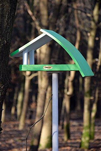 """Luxus-Vogelhaus 31014e Design Vogelhaus """"New Wave"""" aus Holz (Kiefer) für Garten, Balkon, mit Ständer, Schrägdach, Farbe: weiߟ-grün – Vogelhäuschen Vogel-Futterhaus - 3"""