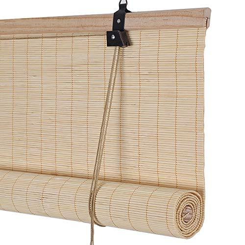 Tenda a rullo tapparelle in bambù per decori per interni, tendina parasole oscurante con gancio, protezione solare anti-uv (dimensioni : 100×120cm)