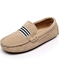 Shenn Niños Niñas Colegio Correa Ponerse Gamuza Cuero Mocasines Zapatos
