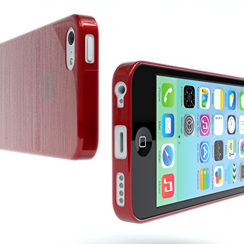 "Apple iPhone 5C Hülle, EAZY CASE Ultra Slim Cover ""Clear"" - Premium Handyhülle Transparente Schutzhülle, Smartphone Case in Transparent Brushed Rot"