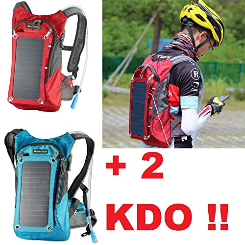 Rucksack Solar rot Special Trekking, Hängematte + 2Geschenke = 1Trinkflasche + 1Schlüsselanhänger, Taschenlampe und Laser....