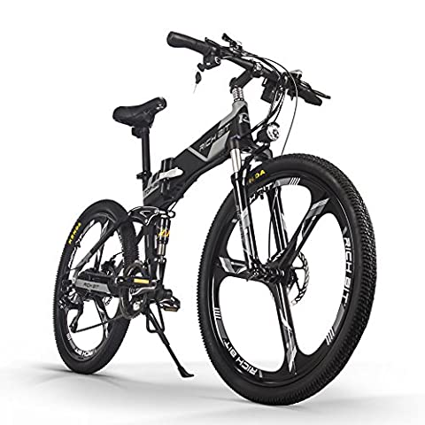 RICH BIT® New Updated RT-860 36V*250W Electric Bike Mountain Hybrid MTB Bike Bicycle Cycling Watertight Frame Inside Li-on Battery Quality Aluminum Alloy Folding Frame Suspension Fork 26inch Wheel Magnesium Integrated Wheel