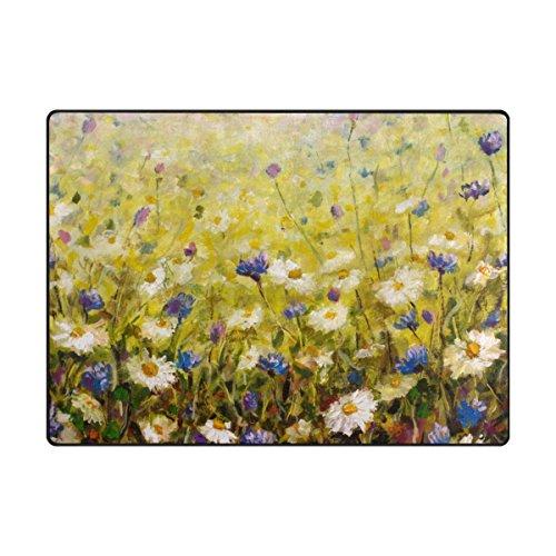 ALAZA Blumenölgemälde Blumen Bereich Teppich 4'10