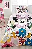 Disney Minnie Mouse glitter con licenza ufficiale set copripiumino set, tessuto 100% cotone Ranforce singolo, pezzi