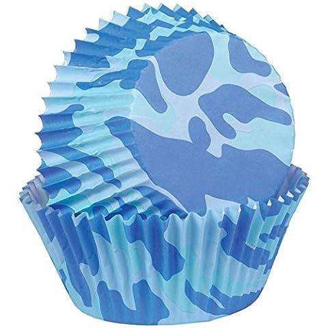 Wilton Camouflage Standard Baking Cup, Blue, 75-Piece