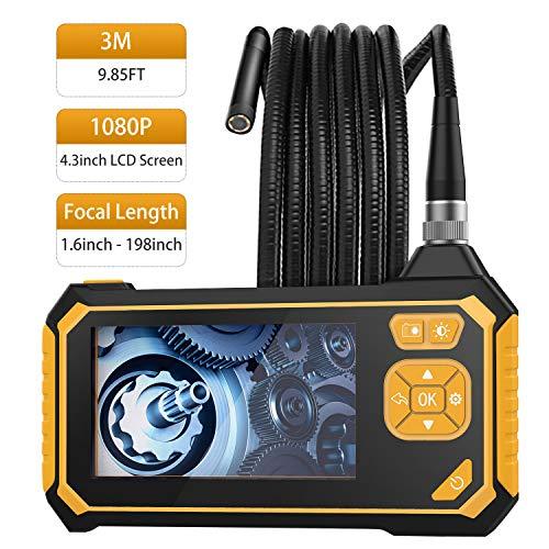 MoKo Endoscopio Industrial, Cámara de Inspección - 3m Endoscópica Impermeable con Pantalla LCD en Color, Boroscopio de Mano Semirrígido 1080P HD con 6 LED, Cámara Snake con Batería de Litio de 2600mh