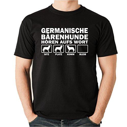 Siviwonder GERMANISCHER BÄRENHUND Bärenhunden Bär - HÖREN AUFS Wort Unisex T-Shirt Shirt Hunde Hund schwarz S