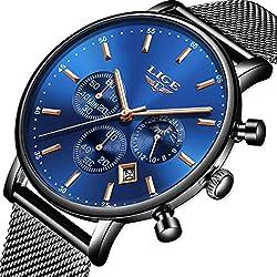 Orologio da Uomo Impermeabile Acciaio Inossidabile Multifunzione Cronografo Marchio di Lusso LIGE Moda di Svago Orologio Blu Affari Abito Orologio Data di Calendario