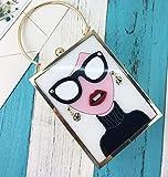 Pnizun - Fashion Markendesign Ohrringe sexy Frau Lippen PU-Leder Damen Handtasche Schultertasche Clutch Abendtasche Mini Umhängetasche Geldbeutel [Weiß L Größe: L13cm * W6cm * H18cm (± 1-2cm)]