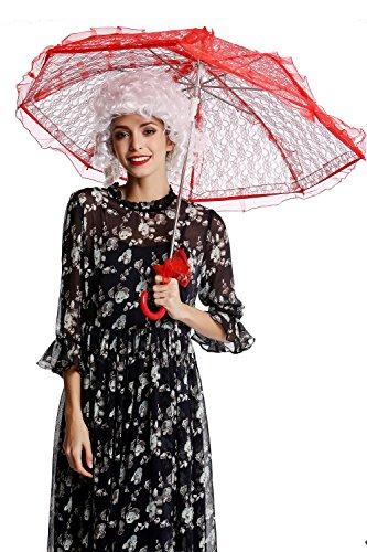 DRESS ME UP YS-001R Parasol Spitze Sonnenschirm Barock Rokoko Viktorianisch Biedermeier Rot Gothic...