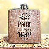 Flachmann Bester Papa der Welt! Mit Holz Ummantelung | Geschenk Idee Vater Geburtstag Vatertag Gravur