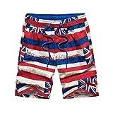 Pantalones Cortos de natación Traje de baño de Manga Larga Camiseta de natación Pantalones Cortos Traje de baño Pantalones Cortos de Playa Vendaje Bandera Americana Hombres