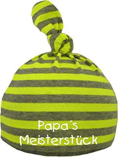 KLEINER FRATZ Baby Mütze bedruckt mit PAPAS MEISTERSTÜCK (Farbe neongelb/grau) (Gr. 12-36 Monate)