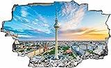 DesFoli Berlin Fernsehturm City 3D Look Wandtattoo 70 x 115 cm Wanddurchbruch Wandbild Sticker Aufkleber C278