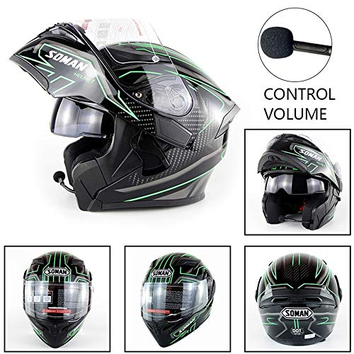 Motorradhelm, Double Lens Integralhelm Mit Einem Bluetooth-Headset, Vier-Jahreszeiten-Reitmotorradhelm, ABS-Material, Persönlichkeitsmuster, DOT-Zertifizierung,D,M Dual-wear Bluetooth