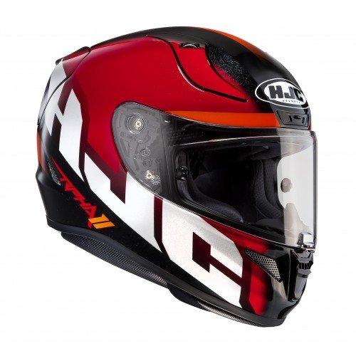 HJC 134401L Casco Moto, Bianco/Rosso, L