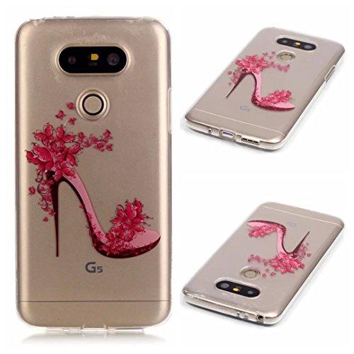 KSHOP Per LG G5 Custodia Conchiglia fit ultra sottile Silicone Morbido Flessibile TPU Custodia Case Cover Protettivo Skin Caso modello - Red Tacchi