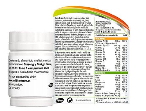 517qngKkAXL - Multicentrum Plus complemento alimenticio con 13 Vitaminas, 8 Minerales, Ginseng y Ginkgo Biloba, Con Vitamina B1, Vitamina B6, Vitamina B12, Hierro, Vitamina C, Vitamina D, 30 Comprimidos