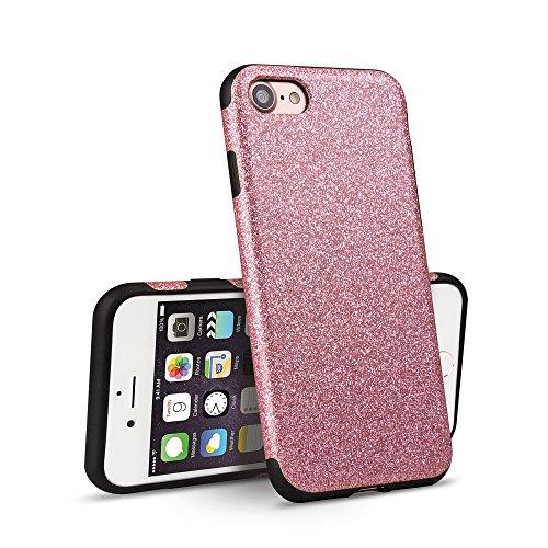 iPhone 7 Custodia OKCS® Protettiva Glitzer Back Cover Hard Case Bumper - en Pink Rose
