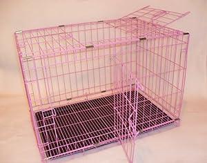 """Pink 30"""" Dog Cage with 2 Doors. 1 top door + 1 x side door. from Doghealth"""