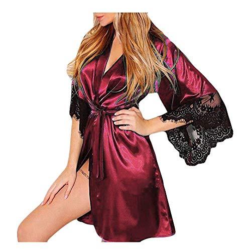 QinMM Albornoz Mujer Satén Camisón Sexy Pijama Vestido
