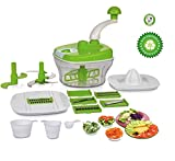 One Stop Shop Manual Food Processor - Chopper, Dicer, Blender, Atta Maker, Dough Kneader, Peeler14 Pieces (Multicolor)