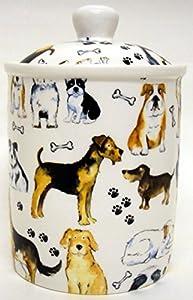 Pot à friandises pour chien en porcelaine Chiens Collage Nourriture pour animaux Treats Bocal décorée à la main au Royaume-Uni.