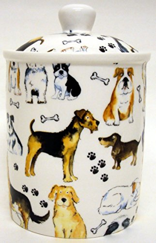 Hunde Collage Kanister Fine Bone Dogs Collage Pet Food behandelt Vorratsdose Hand verziert in Großbritannien.