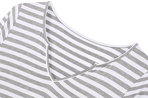 Arshiner Maternité Robe Grossesse Manches 3/4 pour Femmes Enceintes Gris