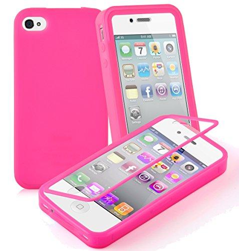 Preisvergleich Produktbild Cadorabo - TPU Silikon Schutzhülle (Full Body Rund-um-Schutz auch für Das Display) für > Apple iPhone 4 / iPhone 4S < in HOT-PINK