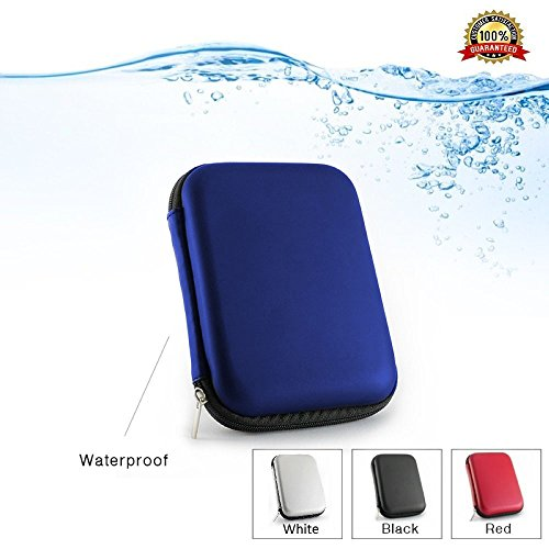 Preisvergleich Produktbild 2,5 Portable Externe Festplatte Case für WD/Western Digital Element My Passport/Seagate Expansion Backup Plus/Samsung/Toshiba stoßfest wasserdicht Hand Carry Festplatte HDD Tasche Speicher Power Bank, USB PU Leder EVA Travel Shell blau blau