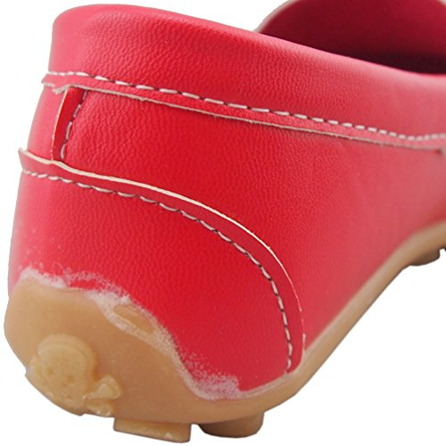 DADAWEN Mixte Enfant A-Enfiler Leather Loafer Oxford chaussure Rouge