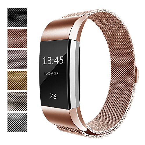 Price comparison product image Fitbit Charge 2 Accessory Band,  Milanese Loop Stainless Steel Bracelet Strap Replacement Wristband with Unique Magnet Lock for Sport Fitness Tracker Fitbit Charge 2 Heart Rate,  Rose Gold (Size S)