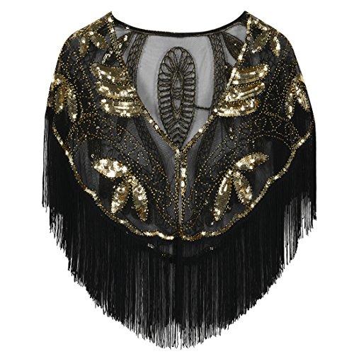 PrettyGuide Damen Stola Abendkleid Perlen Pailletten Franse 20er Jahre Schal gold