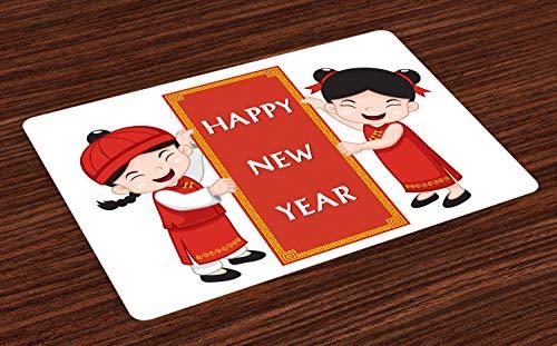 ABAKUHAUS Chinesisches Neujahr Platzmatten, Nette asiatische Kinder in den traditionellen Kostümen, die EIN Feier-Zeichen halten, Waschbarer und Farbfester Stoff für Esszimmer und Küche, Mehrfarbig