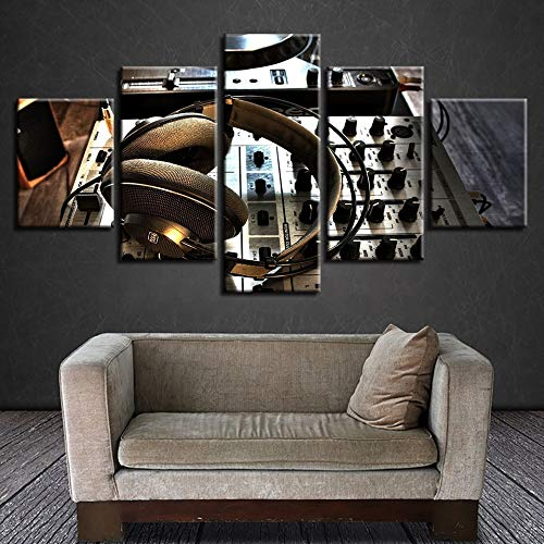 LAKHAFZY Rahmenlos Canvas HD Printed Pictures Living Room Wall Art 5 Pieces Dj Set Headphones Paintings Home Decor Music Poster