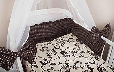 Zieba Juego de ropa de cuna, 5 piezas, con protectores, funda para cuna y dosel de gasa, 100 x 135 cm, color marrón