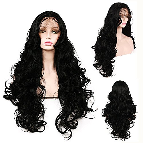 SHANDIREN Outdoor 250% Density Natural Color Natural Looking Body Wave Lace Front Synthetic Wigs American Heat Resistant Fiber Wig For Charming Women(24