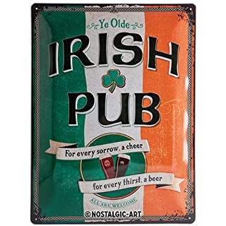 Nostalgic-Art 23226 Open Bar - Irish Pub, Blechschild 30x40 cm
