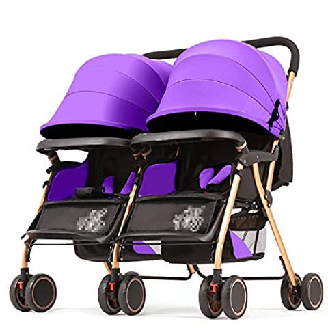 POKWAI Twins Baby Trolley Can Sit Down Light Baby Carriage High View Baby Trolley Aluminum Alloy