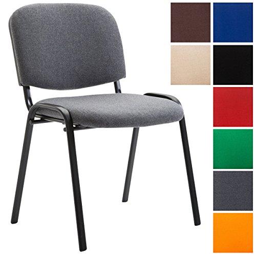 CLP Konferenzstuhl KEN V2 mit Stoffbezug und hochwertiger Sitzpolsterung | Robuster und stapelbarer Besucherstuhl | In verschiedenen Farben erhältlich Grau