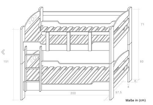 "Bunk bed ""Easy Furniture"" K10/n with 2 underbed drawer, solid beech wood, clearly varnished, convertible - 90 x 200 cm"