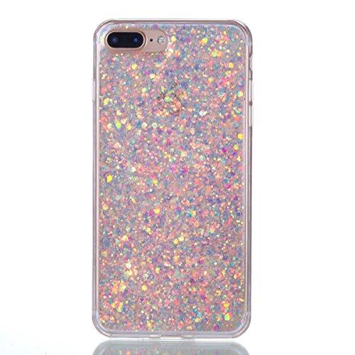 Shinyzone Coque pour iPhone 8 Plus,Coque pour iPhone 7 Plus Bling Brillante Paillettes Étui de Luxe,TPU Souple Arrière Housse Coque de Protection Résistante Aux Chocs-Violet