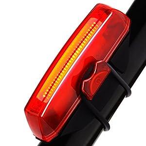 LED Luz Trasera de Bicicleta, GVDV Faro trasero Impermeable USB Carga Super Potente Luz Ciclismo con 6 Modos