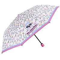 Lama Folding Umbrella Kids - Mini Emoji Brolly for Girls - Pink and Light Blue Details - Small Light and Windproof in Fiberglass - PFC Free - Manual Opening - High Quality - Diam 91 cm - Perletti