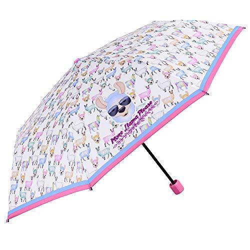 Ombrello Emoji Lama Pieghevole Bambina - Ombrellino da Ragazza Bianco Azzurro e Rosa - Leggero Resistente Antivento in Fibra di Vetro - 7+ Anni - Manuale - PFC FREE - Diametro 91 cm - Perletti
