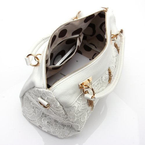 Moollyfox Sac à main design en cuir PU pour femme Blanc
