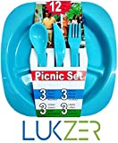 #9: LUKZER 12 Pcs All in One Picnic Travel Plastic Dinner Set ( 3 Square Plates,3 Forks,3 Spoons,3 Knives), Multi-Color