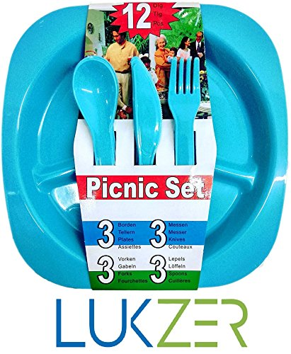 LUKZER 12 Pcs All in One Picnic Travel Plastic Dinner Set ( 3 Square Plates,3 Forks,3 Spoons,3 Knives), Multi-Color  available at amazon for Rs.170
